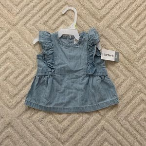 Infant Denim ruffle sleeve top